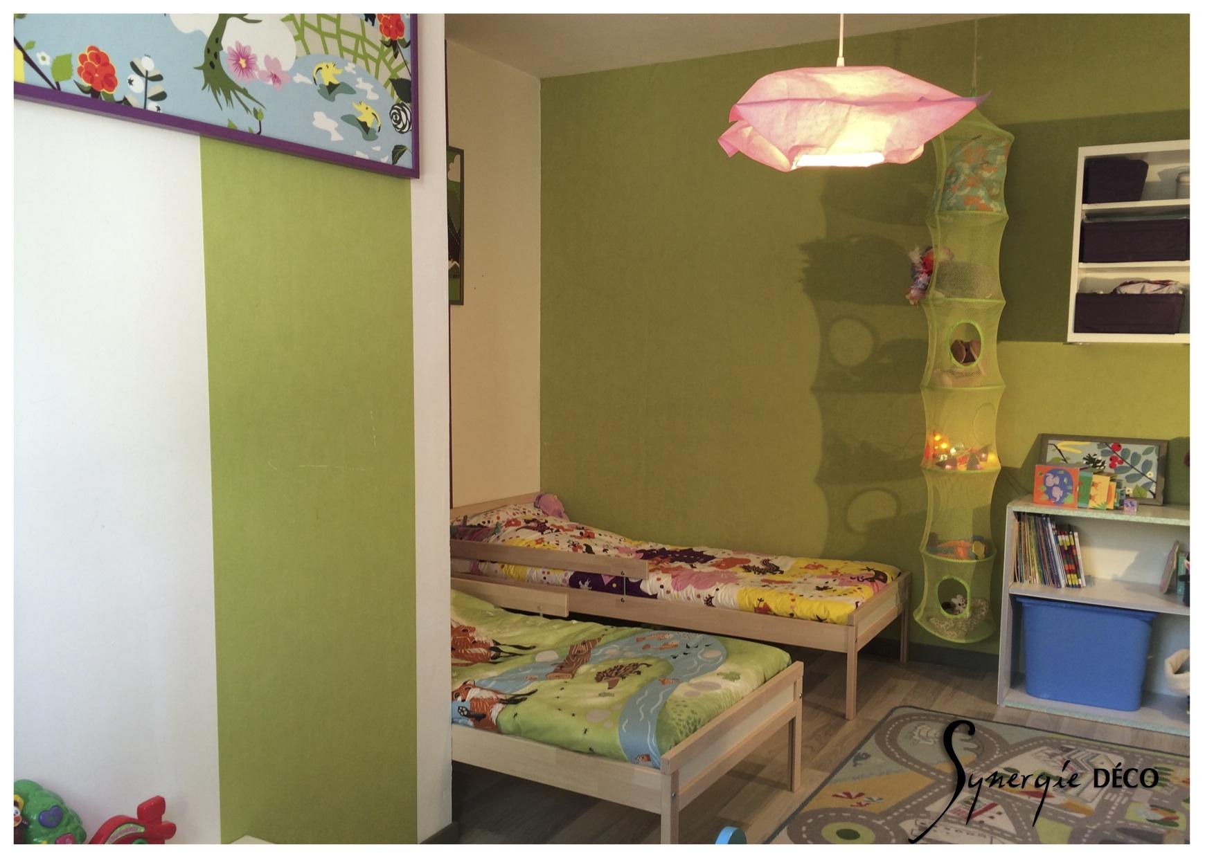 une chambre d 39 enfants mixte vitamin e synergie d co. Black Bedroom Furniture Sets. Home Design Ideas