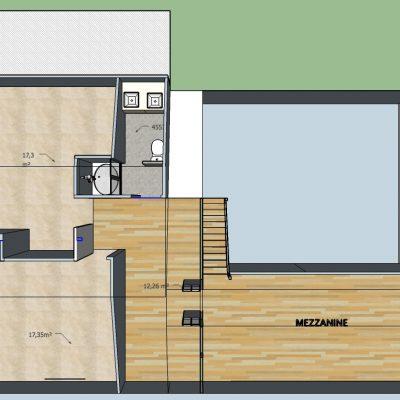 Version 1: une grande verrière sépare l'espace commun de la mezzanine.