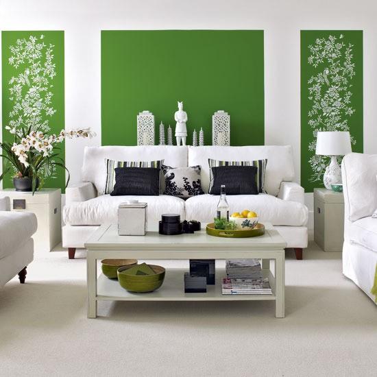 Decoration salon peinture vert
