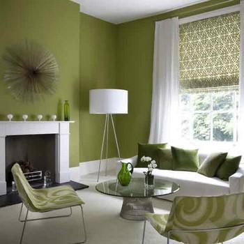 Ni chaud, ni froid, un salon contemporain tout de vert revêtu.