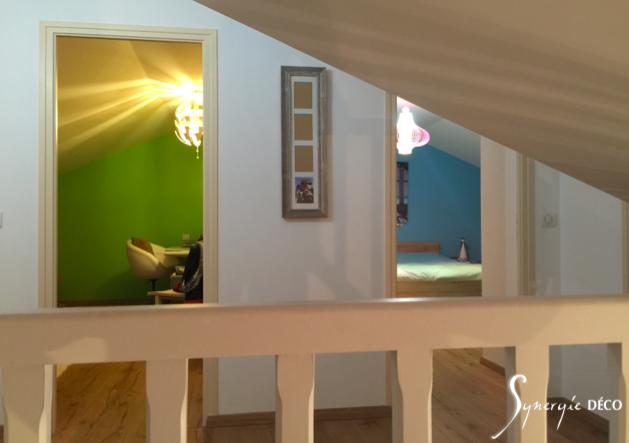 aménagement de combles pour deux enfants, 3D, Architecture intérieur Yvelines, decoartaion particuliers et professionnels