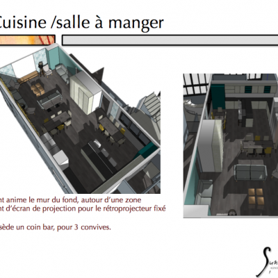 La vue état projeté de l''espace Cuisine salle à manger salon