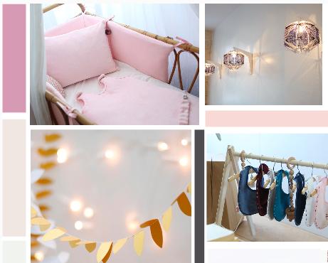 Planche ambiance thème Chambre féérie et douceur, réalisée par Synergie Déco, Set my Style