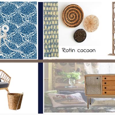 Planche ambiance thème Rotin Cocoon, réalisée par Synergie Déco, Set my Style