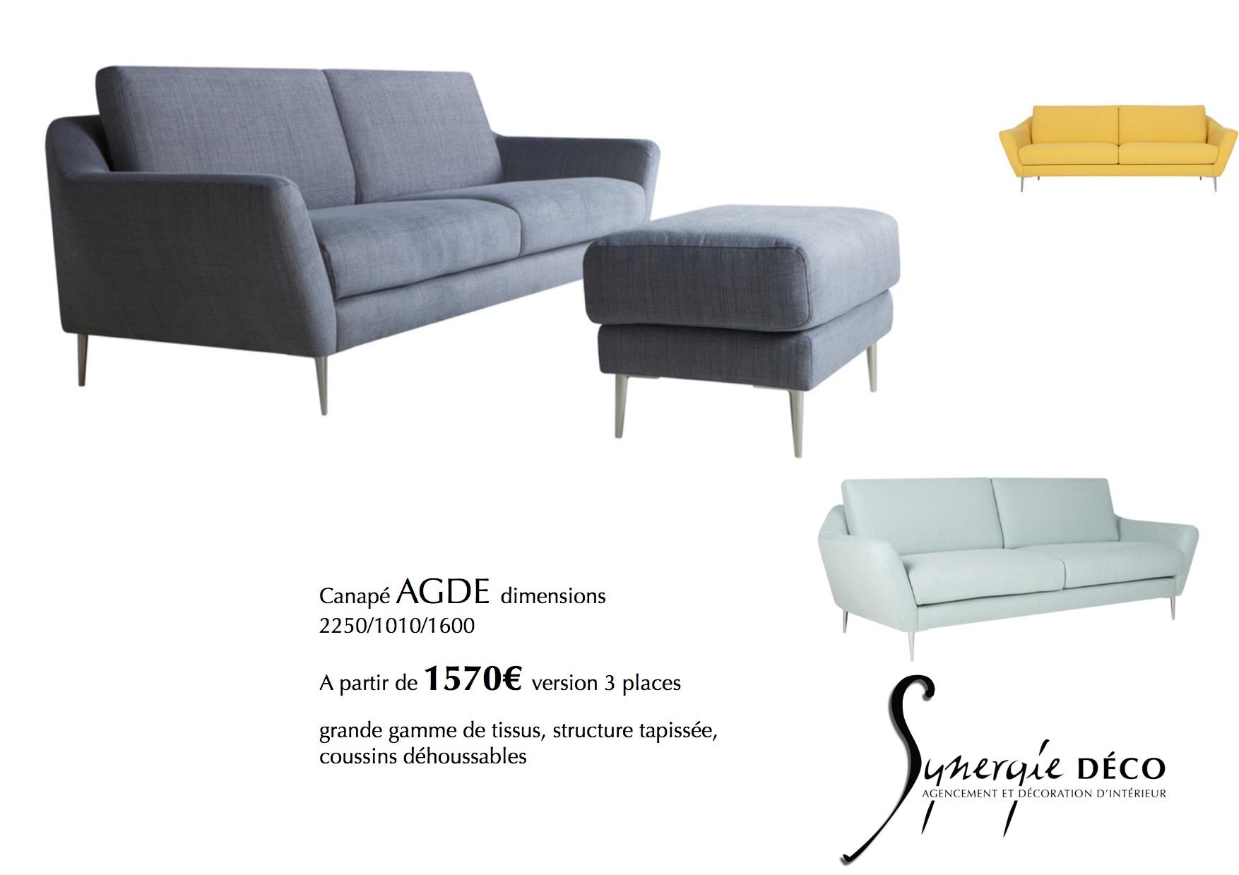 Vente De Mobilier Synergie Déco - Canapé 3 places pour architecte et decorateur d interieur