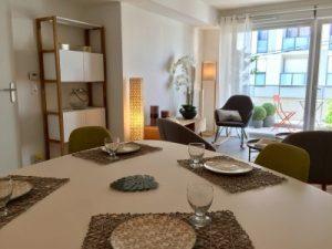 séjour, décoration, scandinave, set de table corde, luminaire tressé, appartement témoin, synergie déco, décoratrice intérieur 78,