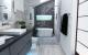 malienne, pierre noire, baignoire ilot, double vasque, noir et blanc,
