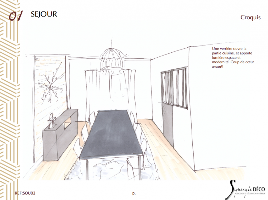 Croquis visite conseil déco 78 décoratrice d'intérieur UFDI sandrine Neimer, Synergie déco