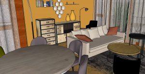 VUE 3D Mur k-jaune, campa-gne chic