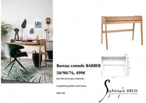 mobilier et accessoire en vente, par votre décoratrice Synergie déco, Yvelines Bureau chêne console bois, Décoratrice