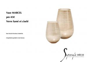Vase verre fumé ciselé mobilier et accessoire en vente décoratrice
