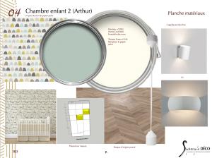 papier peint, applique céramique, meuble sur mesure
