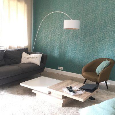 Un séjour couleur émeraude à Vaucresson, par Synergie Déco, décoratrice d'intérieur UFDI, Yvelines