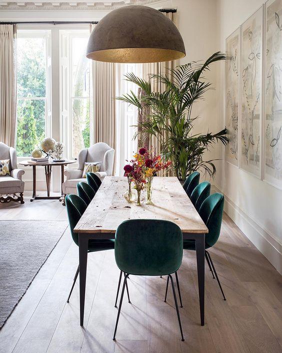 Chaise beetle, parquet, suspension coupole, plante verte salle à manger