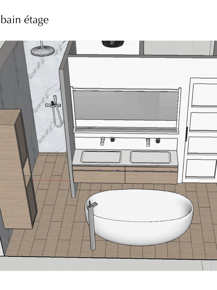 plan salle de bain marbre
