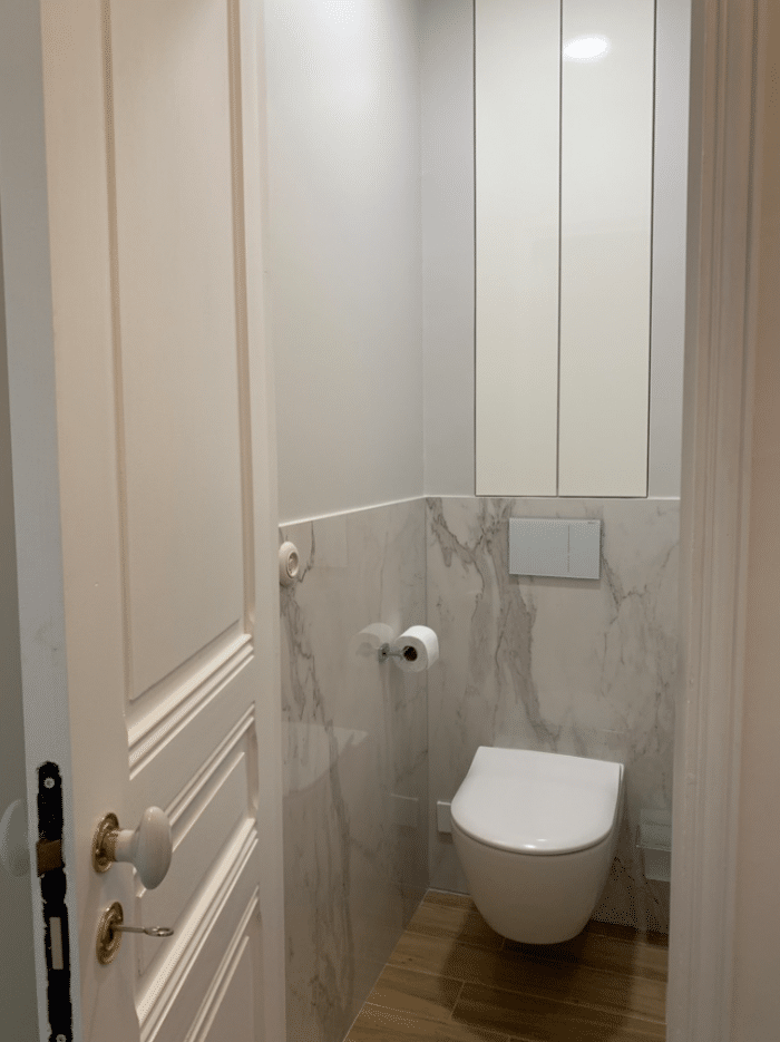 wc marbre, wc suspednu, placare sur mesure WC
