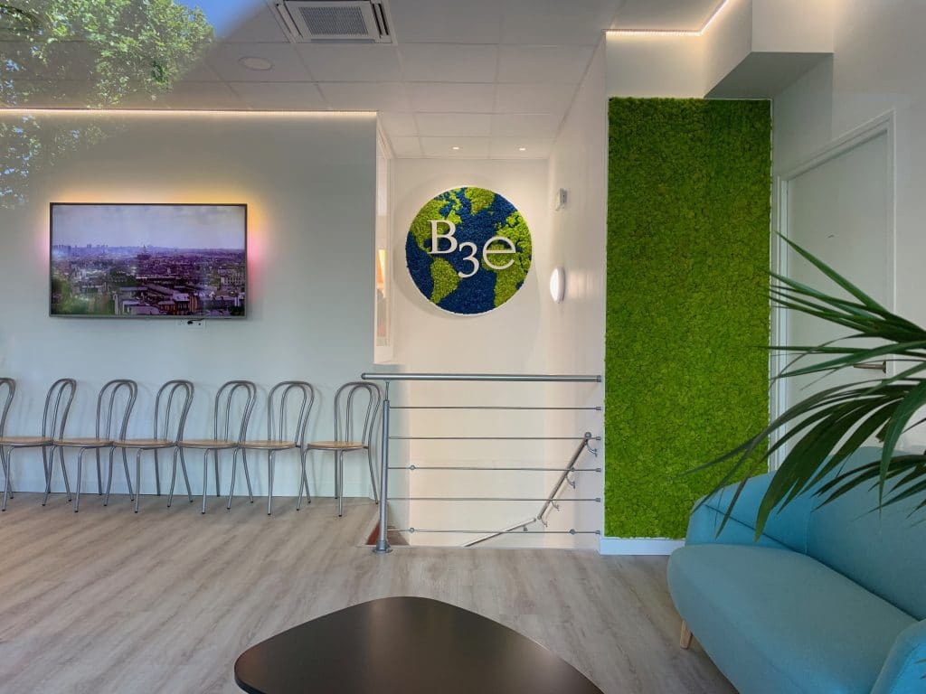 décoration et agencement bureaux murs végétal mousse accoustique, écran tv mural accueil, décoratrice UFDI Synergie Déco