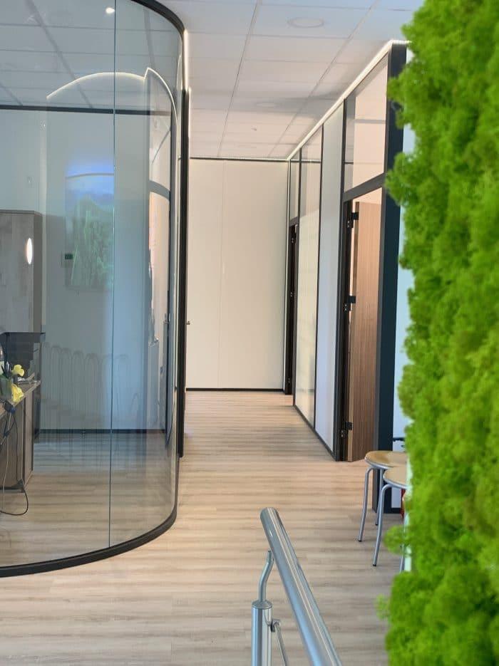 décoration et agencement bureaux cloison courbe, vitrées sol effet bois, mousse lichen, décoratrice UFDI Synergie Déco