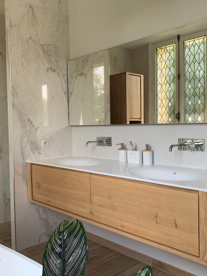 marbre murs, meuble salle de bain, bois, vaque corian