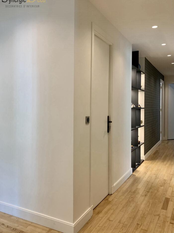 papier peint vert chic niche couloir